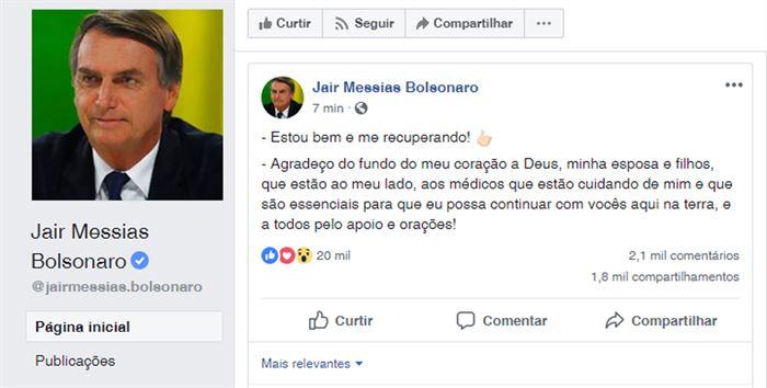 Bolsonaro publicou em sua página no Facebook